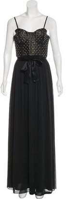 Alice + Olivia Embellished Leather-Paneled Dress