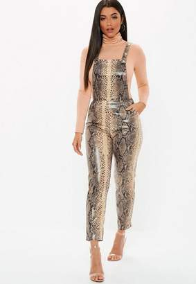 Missguided Brown Faux Leather Snake Print Dungaree Romper