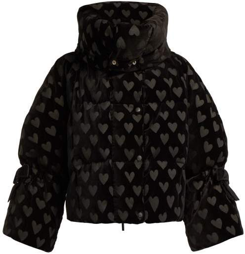 Down Filled Heart Motif Velvet Jacket - Womens - Black