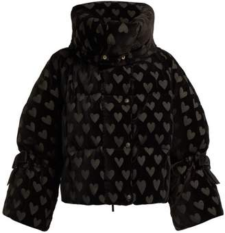 Fendi Down Filled Heart Motif Velvet Jacket - Womens - Black