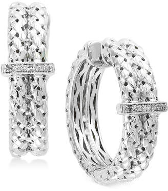 Effy Balissima by Diamond Accent Weave-Style Hoop Earrings in Sterling Silver