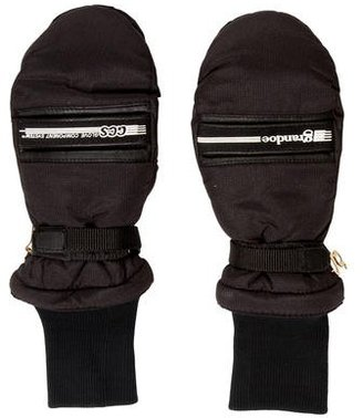 Grandoe Leather-Trimmed Woven Mittens $70 thestylecure.com