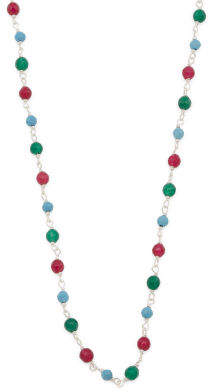 Made In Italy Sterling Silver Multi Gemstone Rosary Necklace