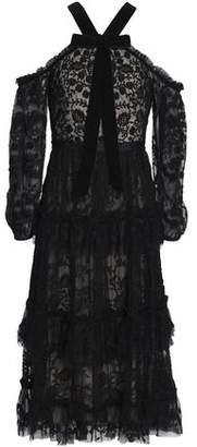 Needle & Thread Pussy-Bow Tiered Embroidered Tulle Midi Dress