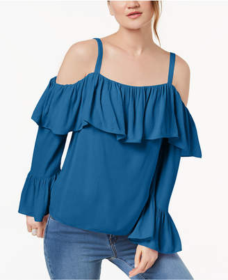 INC International Concepts I.n.c. Petite Off-The-Shoulder Ruffle-Cuff Top, Create for Macy's