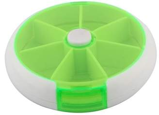 Unique Bargains Home Button Rotate Weekly Box Case Holder Organizer Light Green