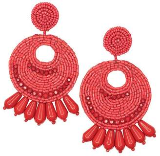 Kenneth Jay Lane Large Red Seed Bead Round Gypsy Hoop Pierced Or Clip Earrings