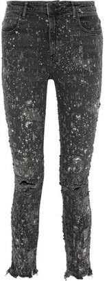 Alexander Wang Whiplash Bleached Distressed Mid-rise Skinny Jeans