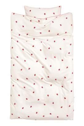 H&M Patterned Duvet Cover Set - White/ladybugs