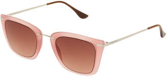 Ellen Tracy Metal Square Sunglasses, Pink/Brown