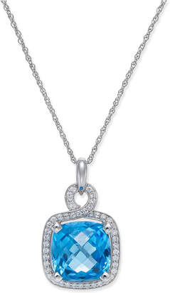 Macy's Blue Topaz (8 ct. t.w.) and Diamond (1/3 ct. t.w.) Pendant Necklace in 14k White Gold