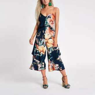 River Island Womens Petite navy floral frill culotte jumpsuit