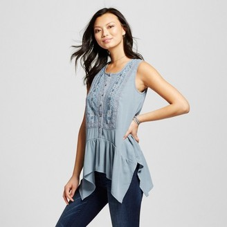 Knox Rose Women's Peplum Sharkbite Tank with Button Front and Embroidery $22.99 thestylecure.com