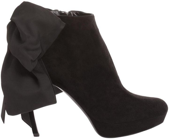 Alexander McQueen Black Grosgrain Bow Boot