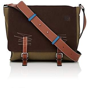 a74e69dc219 Loewe Men s Military Small Suede   Canvas Messenger Bag - Choc Brown