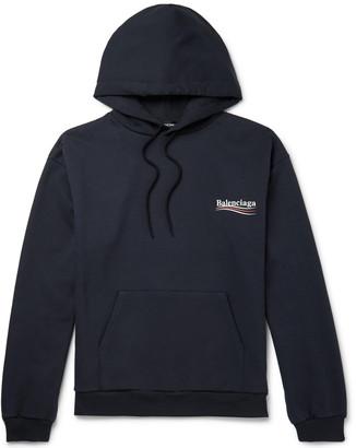 Balenciaga Printed Loopback Cotton-Jersey Hoodie - Men - Blue