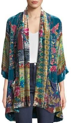 Johnny Was Biza Printed Velvet Kimono Jacket, Petite