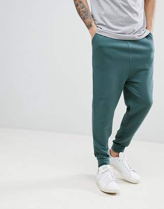 Asos Design Drop Crotch Joggers In Washed Green