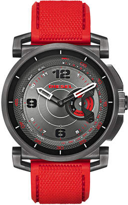 Diesel Men's On Time Red Silicone Strap Smart Watch 58mm $250 thestylecure.com