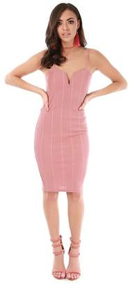 Be Jealous - Pink Strappy Knee Length Bodycon Dress