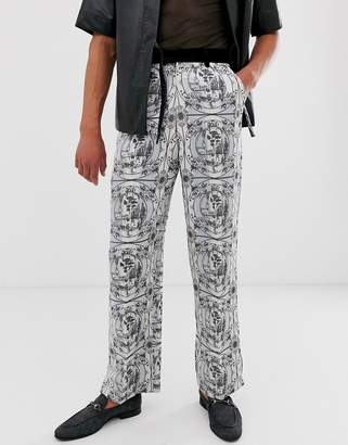 Asos Edition EDITION wide leg suit trousers with all over monochrome print and velvet detail