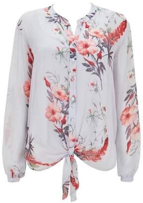 Wallis Grey Tie Front Floral Blouse