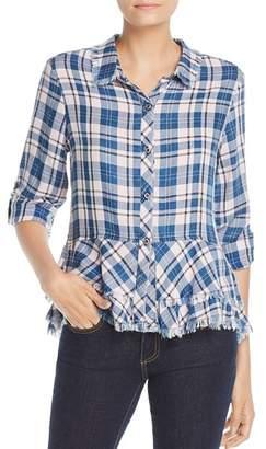Billy T Frayed Plaid Peplum Shirt