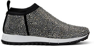 Jimmy Choo NORWAY Black Knit Trainers with Hot Fix Crystals