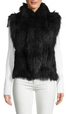 Dyed Rabbit & Raccoon Fur Vest