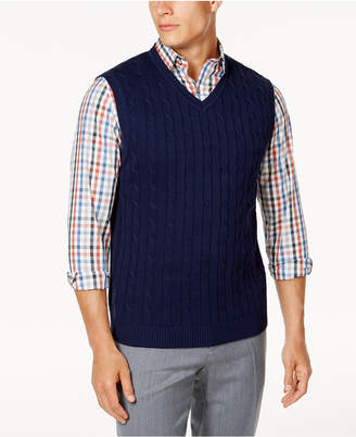 Club Room Men Cable-Knit Cotton Sweater Vest