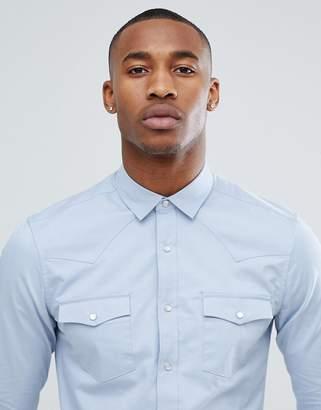 Asos DESIGN slim fit western shirt in blue