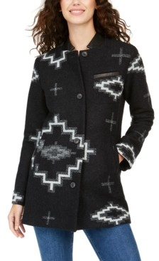Pendleton Leather-Collar Wool Topper Coat