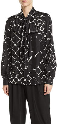 Marc Jacobs Tie-Neck Bishop-Sleeve Abstract-Print Silk Top