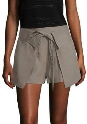 Derek Lam 10 Crosby 10 Crosby Twill Wrap-Front Shorts