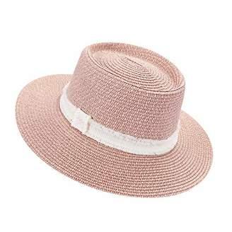 accsa Women Straw Sun Panama Fedora Hat Summer Beach Cap with White Ribbon Band