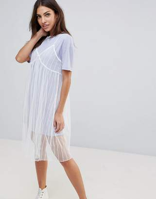 ENGLISH FACTORY The Mesh Slip Dress With T-Shirt