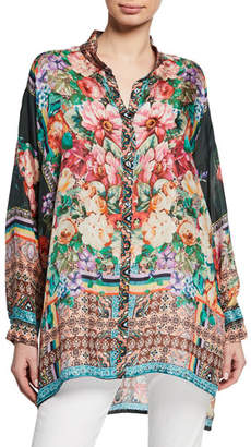 Johnny Was Petite Bethia Mixed-Print Button-Front Long-Sleeve Silk Georgette Top
