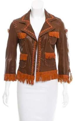 DSQUARED2 Leather Fringe-Trimmed Jacket