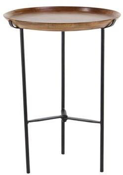 DecMode Decmode Rustic 21 X 16 Inch Round Wood And Iron Accent Table