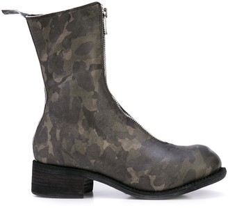 Guidi camouflage pattern zip boots