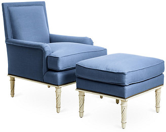 Bunny Williams Home Azure Accent Chair & Ottoman Set - Blue