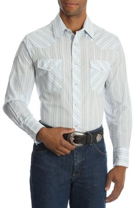 Wrangler Men's and Men's Big Long Sleeve Striped Western Shirt, up to Size 3XL