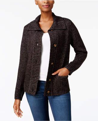 Karen Scott Foldover-Collar Marled Cardigan, Created for Macy's