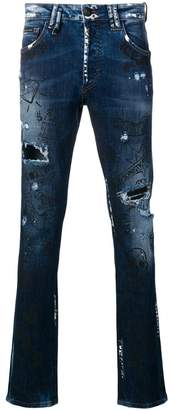 Philipp Plein embroidered doodle pattern jeans