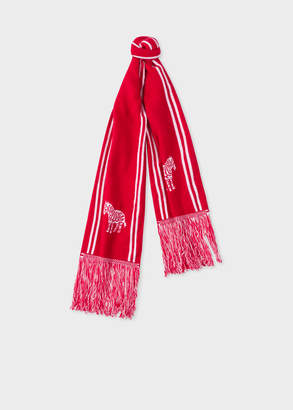 Paul Smith Men's Red And White 'Zebra' Double-Face Scarf