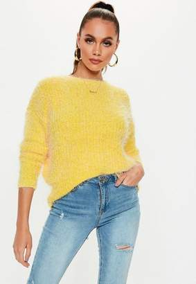 Missguided Yellow Crew Neck Fluffy Boyfriend Sweater