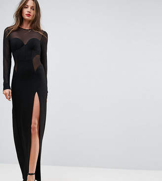 Taller Than Your Average TTYA BLACK Corset Mesh Insert Maxi Bodycon Dress