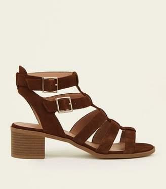 New Look Tan Suede Low Block Heel Gladiator Sandals