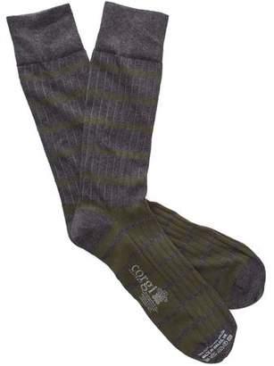 Corgi Stripe Socks in Grey/Olive