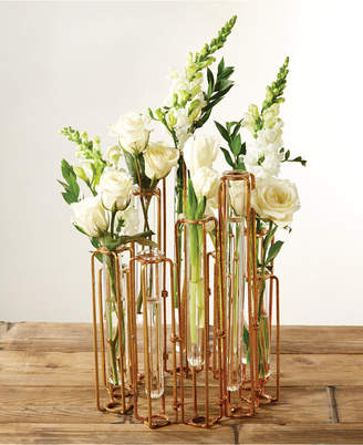 Twos Company Lavoisier Set of 10 Hinged Flower Vases with Antiqued Gold Finish